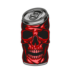 Red skull beer can concept vector