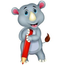 Rhino cartoon holding pencil vector image