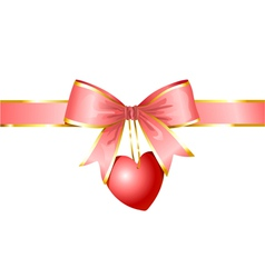 Ribbon and heart gift of love vector