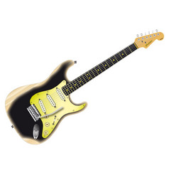 Road worn electric guitar vector