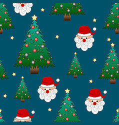 santa claus and christmas tree on indigo blue vector image