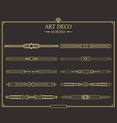set art deco gold calligraphic page dividers vector image