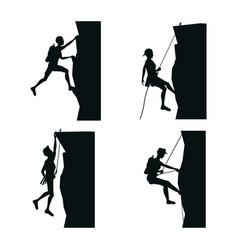 Set black silhouette scene men climbing on a rock vector
