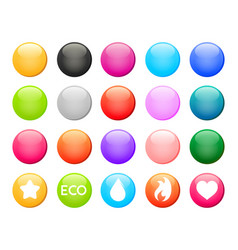set colorful round button icons design vector image