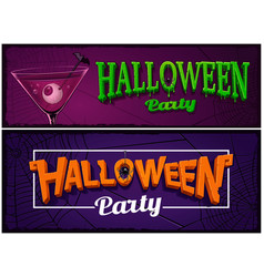 set halloween party banners design templates vector image