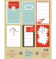 set journaling card and logotypes vector image