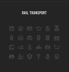 set line icons rail transport vector image