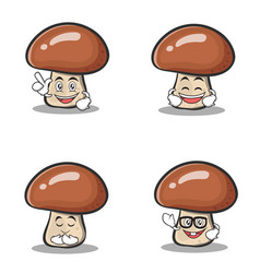 set of mushroom character cartoon vector image