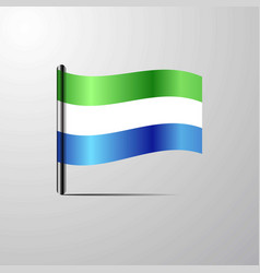 Sierra leone waving shiny flag design vector