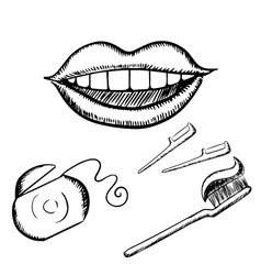 Smile toothbrush and floss sketches vector