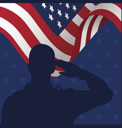 Soldier saluting silhouette with usa flag vector