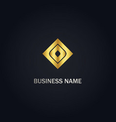 square sign abstract gold logo vector image