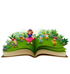story book with snow white and dwarf vector image