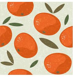 Tangerine seamless pattern mandarin juicy vector