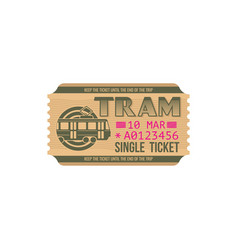 Tram ticket isolated blue control pass template vector