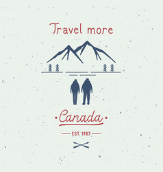travel more canada hand lettering with backpackers vector image