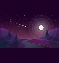 Travel night cartoon landscape fir comet star vector