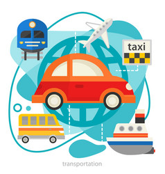 traveling and tourism concept - transport trendy vector image