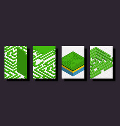 Trendy isometric cover design in green natural vector