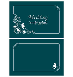 turquoise wedding invitation card vector image