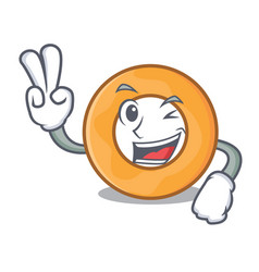Two finger onion ring character cartoon vector
