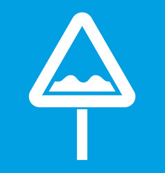 Uneven triangular road sign icon white vector
