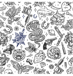vintage tattoos seamless patterns vector image