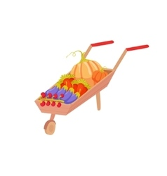 Wheel Barrel With Vegetables As Autumn Attribute vector image