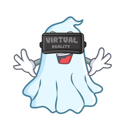 with virtual reality cute ghost character cartoon vector image
