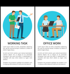 working task office work set vector image