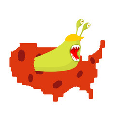 worm eat map usa pests in america parasites in vector image