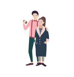 young fashionable couple of man and woman dressed vector image vector image
