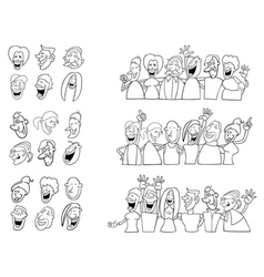 black and white set of funny people vector image vector image