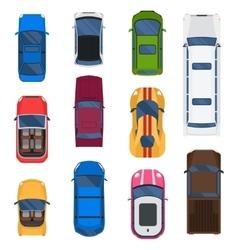 Car top view set vector image