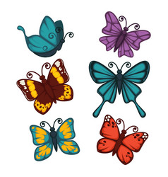 Colorful butterflies collection isolated on white vector