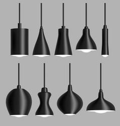 modern black ceiling lamp set realistic vector image vector image