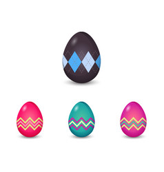 set of argyle and line pattern painted easter eggs vector image vector image