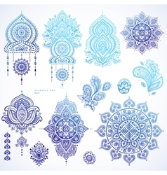 set of Indian floral paisley ornaments vector image vector image