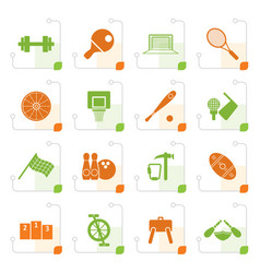 stylized sports gear and tools vector image vector image