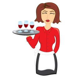 Waitress with wine vector image vector image