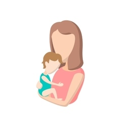 Young mother holding her baby cartoon icon vector image vector image
