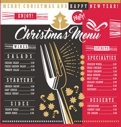 christmas restaurant menu template with christmas vector image