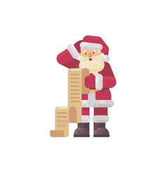 Confused santa claus reading a kids letter vector