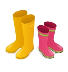 Isometric yellow and pink rubber boots isolated on vector image