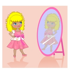 little girl near a mirror vector image vector image