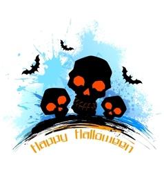 Skull in grungy Halloween Background vector image