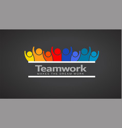 teamwork people of eight persons logo vector image vector image