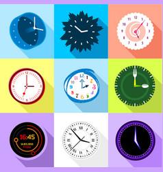 wall clock icons set flat style vector image