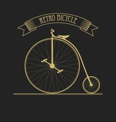 Black gold of old vintage bicycle vector image