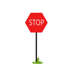 Cartoon icon of red traffic sign with word stop vector